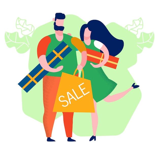 Para kupowanie prezentów cartoon ilustracji wektorowych Premium Wektorów