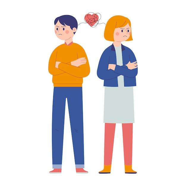 Para Mężczyzn I Kobiet Walczących Ze Sobą I Odwracających Wzrok Premium Wektorów