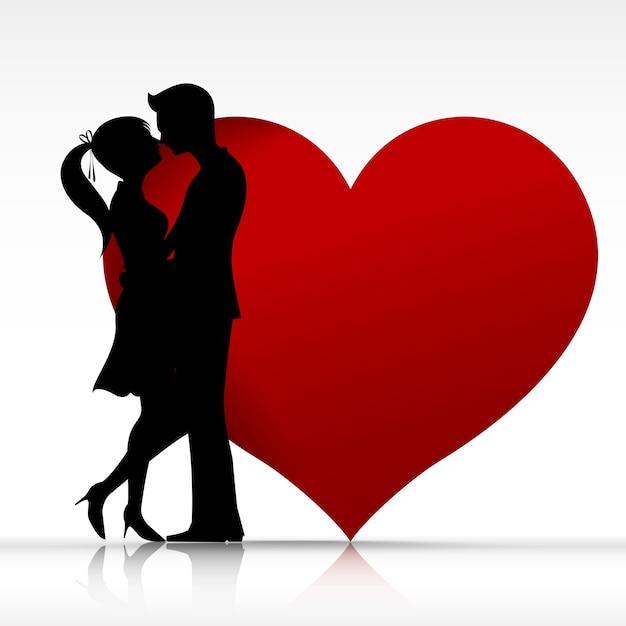 Para mężczyzna i kobieta całuje Premium Wektorów