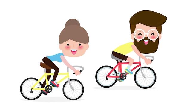 Para Na Rowerach, Ludzie Na Rowerach Na Białym Tle. Premium Wektorów