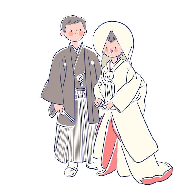 Para Na Sobie Japońskie Ubrania ślubne Darmowych Wektorów