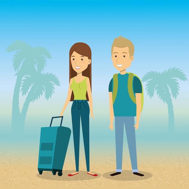 Para Na Wakacjach Na Plaży Darmowych Wektorów