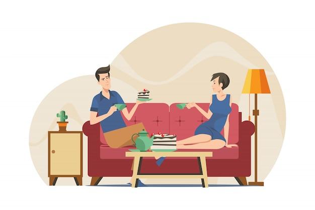 Para Pije Herbaty W Mieszkaniu Darmowych Wektorów