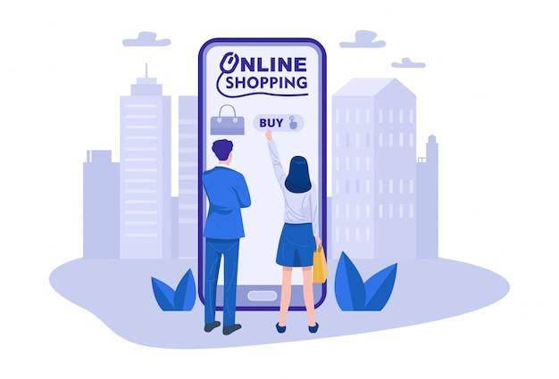 Para Robi Zakupy Online Za Pomocą Smartfona. Wektor Premium Wektorów