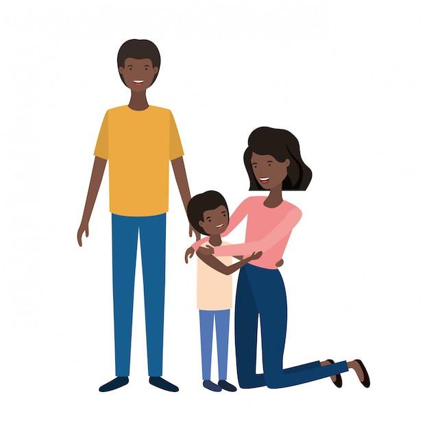 Para Rodziców Z Charakterem Awatara Syna Premium Wektorów