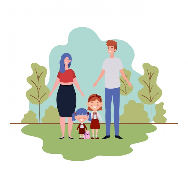Para Rodziców Z Dziećmi W Krajobrazie Premium Wektorów