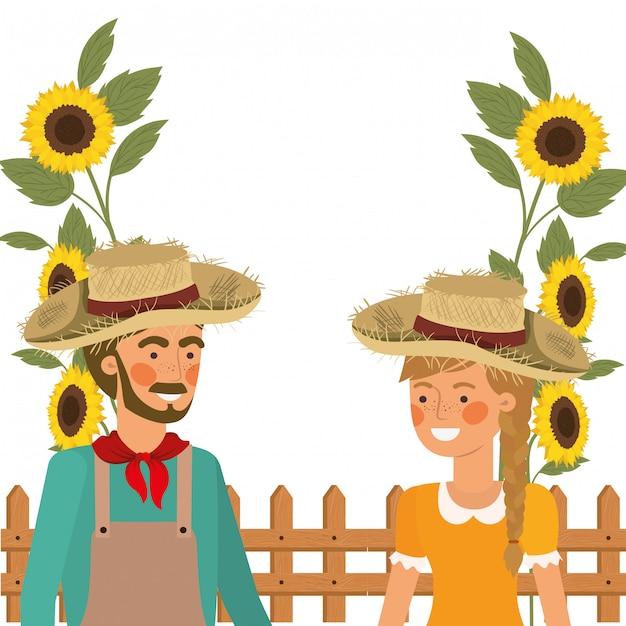 Para rolników rozmawia ze słomkowym kapeluszem Darmowych Wektorów