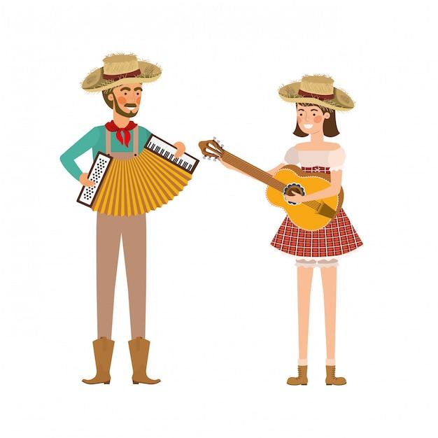 Para rolników z instrumentami muzycznymi Premium Wektorów