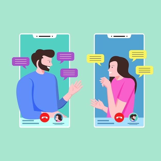 Para Rozmawia I Rozmawia Przez Telefon Darmowych Wektorów