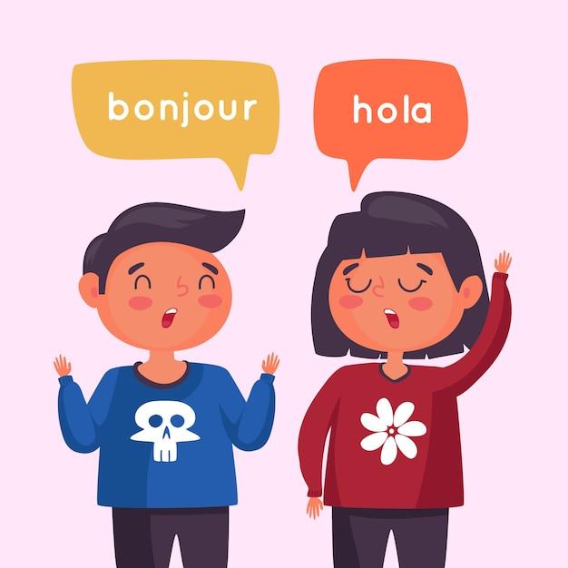 Para rozmawia w różnych językach Darmowych Wektorów