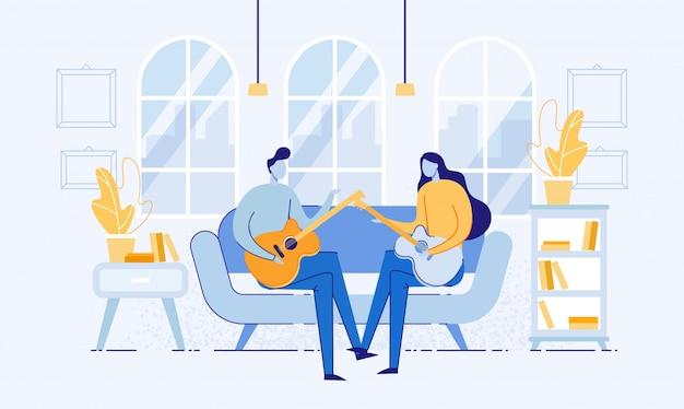 Para siedzi w pokoju na kanapie i gra na gitarze. Premium Wektorów