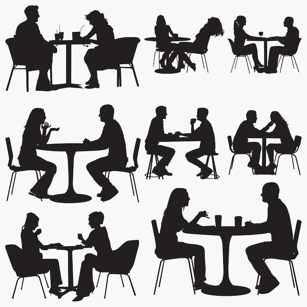 Para siedzi w restauracji sylwetki Premium Wektorów