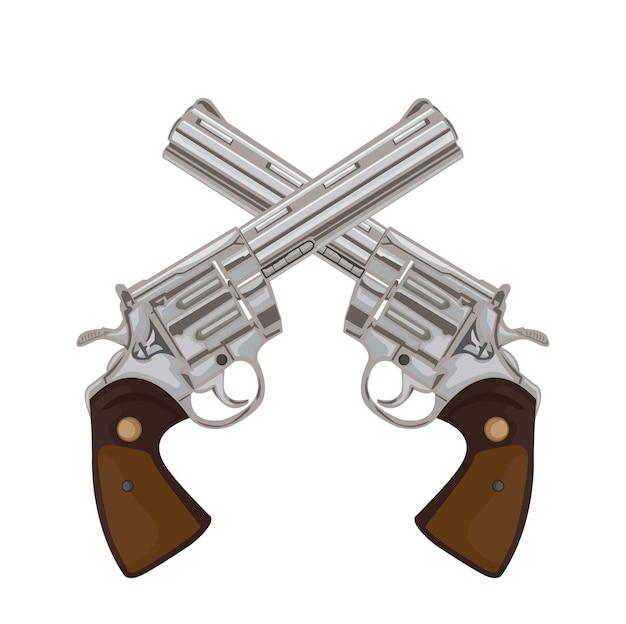 Para Skrzyżowanych Pistoletów Na Starych Ilustracjach Broni Retro Premium Wektorów