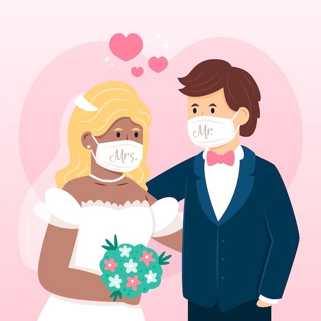Para ślub Noszenie Masek Na Twarz Darmowych Wektorów