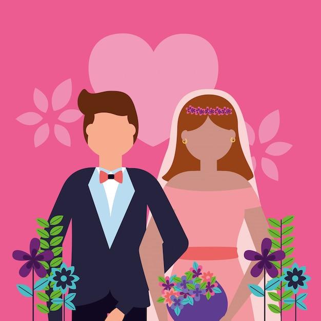 Para ślub W Stylu Płaski Darmowych Wektorów