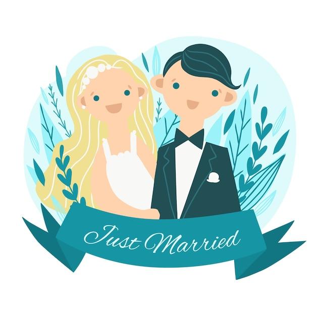 Para ślub Z Narzeczoną I Słodkie Korony Darmowych Wektorów