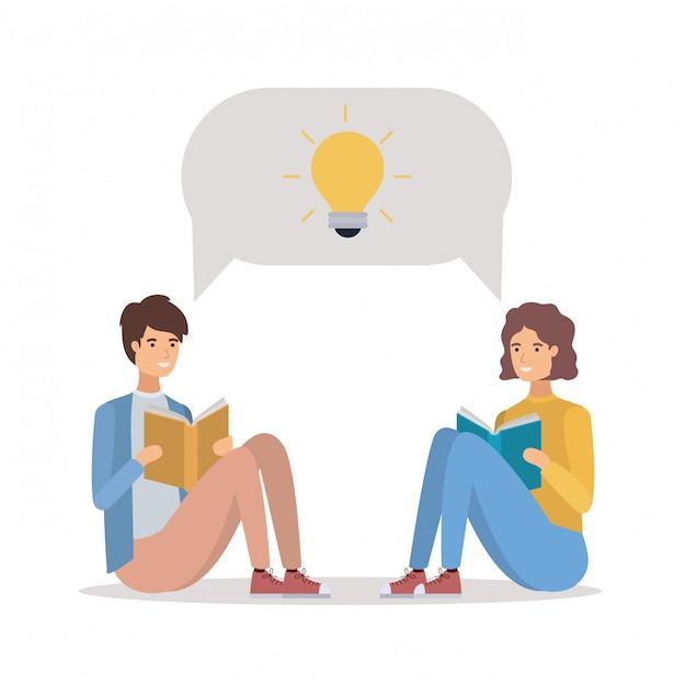 Para studentów, czytanie książek Premium Wektorów