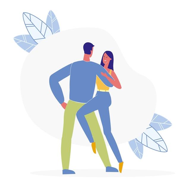 Para Tańczy Razem Płaski Ilustracja Premium Wektorów