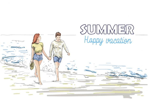 Para trzymać ręce spaceru plaży mężczyzna i kobieta wakacje szkic na morzu wakacje Premium Wektorów