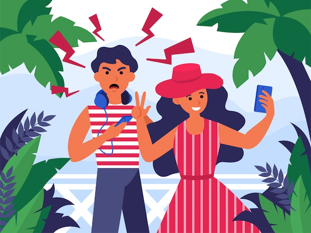 Para Turystów Bierze Selfie Na Wakacje Darmowych Wektorów
