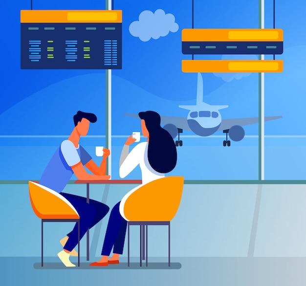 Para Turystów Pije Kawę Na Lotnisku Darmowych Wektorów