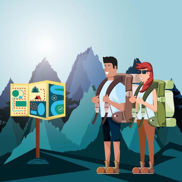 Para Turystów Z Krajobrazem I Ikonami Premium Wektorów