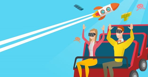 Para w zestawie słuchawkowym vr jeżdżącym na kolejce górskiej Premium Wektorów