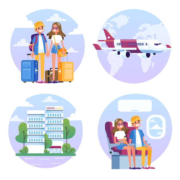 Para Z Bagażem Podróżuje Samolotem. Mężczyzna I Kobieta Premium Wektorów
