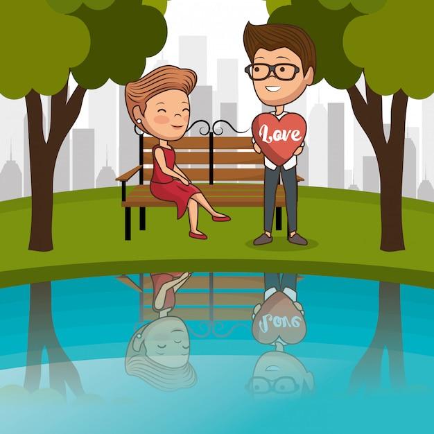 Para zakochanych na krześle parku Premium Wektorów