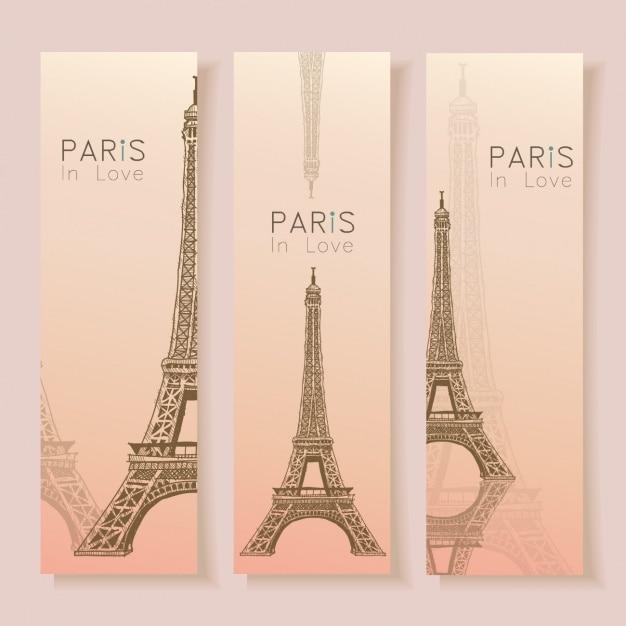 Paris bannery kolekcji Darmowych Wektorów