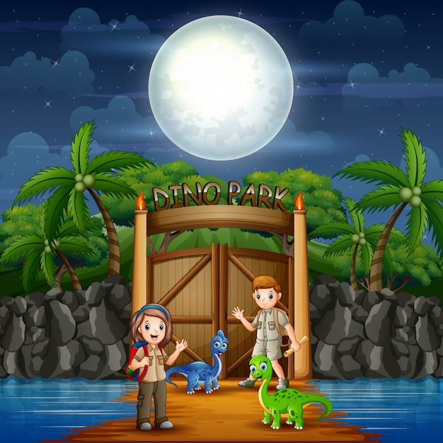 Park Dino Z Dinozaurami I Harcerstwem Premium Wektorów