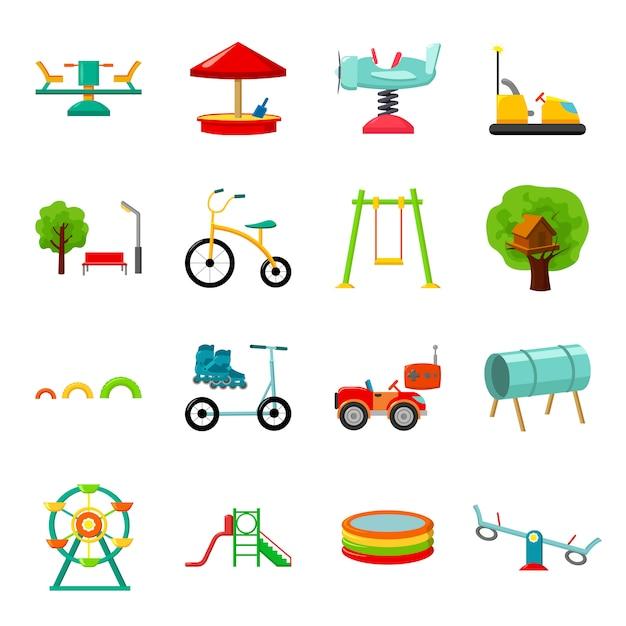 Park kreskówka wektor zestaw ikon. wektorowa ilustracja park rozrywki. Premium Wektorów
