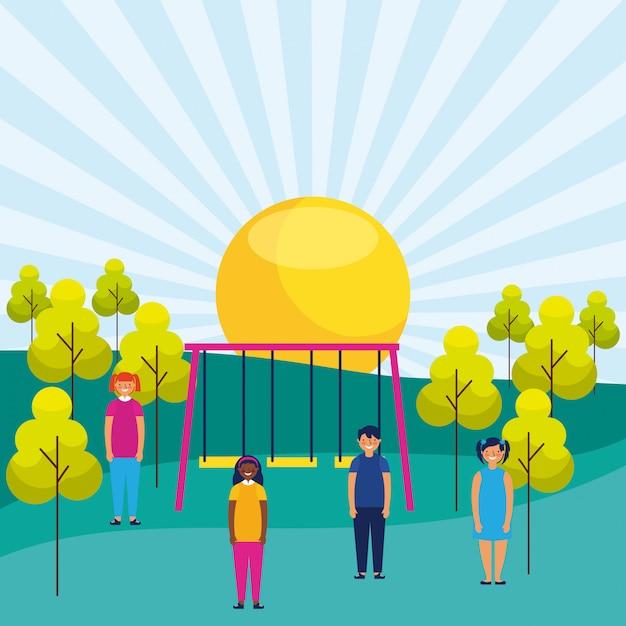 Park Ludzi Na świeżym Powietrzu Premium Wektorów