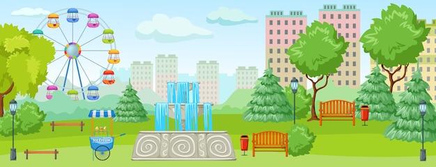 Park Miejski Z Rozrywkowymi Zielonymi Drzewami I Trawiastymi Smakołykami Dla Dzieci Darmowych Wektorów