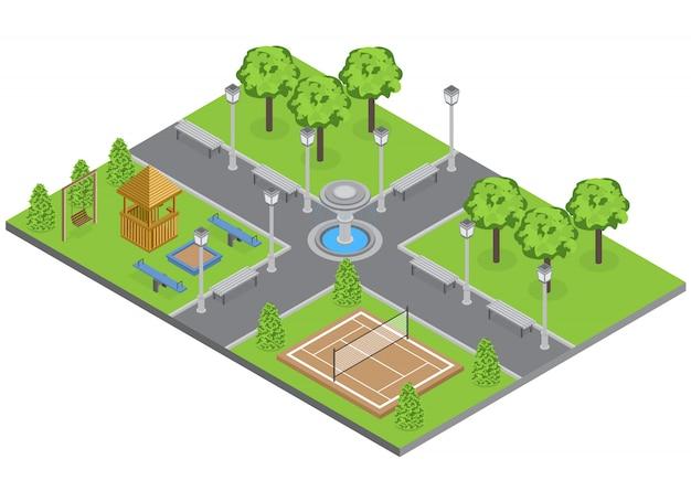 Park Na Przedmieściach Z Drzew Trawnik I Boisko Sportowe Izometryczny Darmowych Wektorów