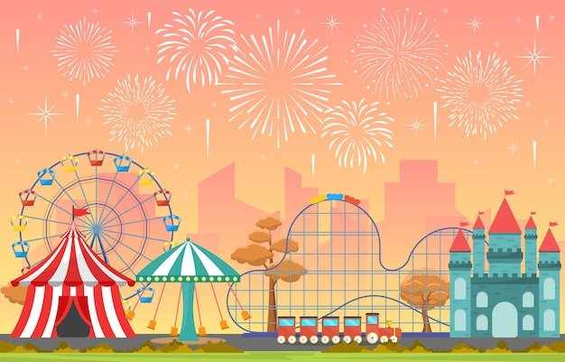 Park rozrywki cyrkowy karnawałowy festiwal zabawy jarmark z fajerwerku krajobrazową ilustracją Premium Wektorów