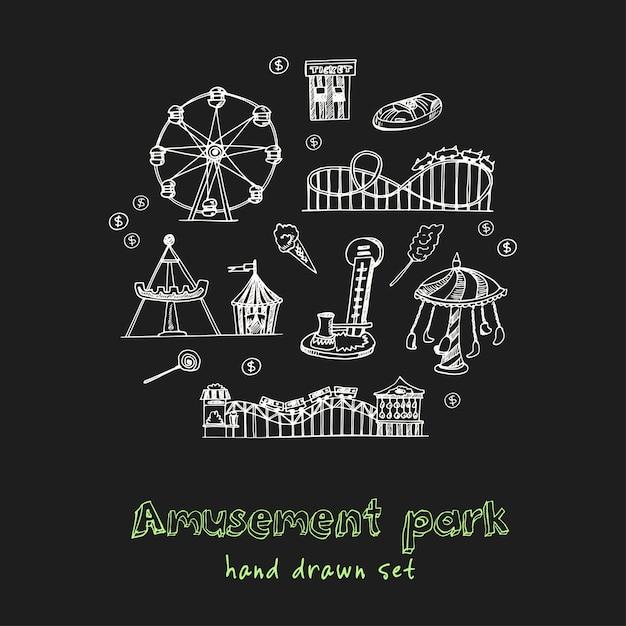 Park Rozrywki Ręcznie Rysowane Doodle Zestaw Premium Wektorów