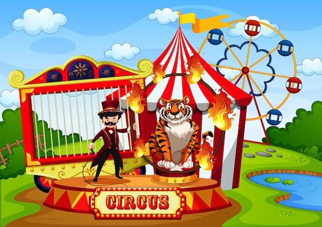 Park Rozrywki Z Cyrkiem W Scenie Stylu Cartoon Darmowych Wektorów