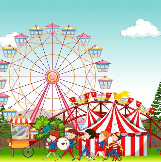 Park Rozrywki Z Cyrku I Ferris Koła Tłem Darmowych Wektorów