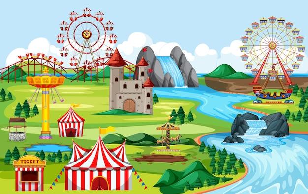 Park Rozrywki Z Karnawałami I Wieloma Atrakcjami Krajobrazowymi Darmowych Wektorów