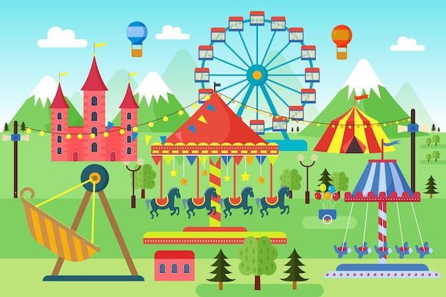 Park Rozrywki Z Karuzelami, Kolejką Górską I Balonami Powietrznymi Premium Wektorów