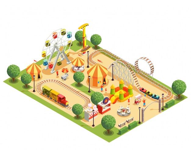 Park Rozrywki Z Kolejki Górskiej Carousels Ferris Koła Namiotów Isometric Składem Na Białym 3d Darmowych Wektorów