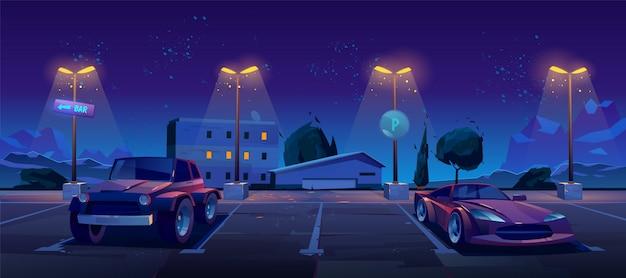 Parking samochodowy w nocy ulica miasta Darmowych Wektorów