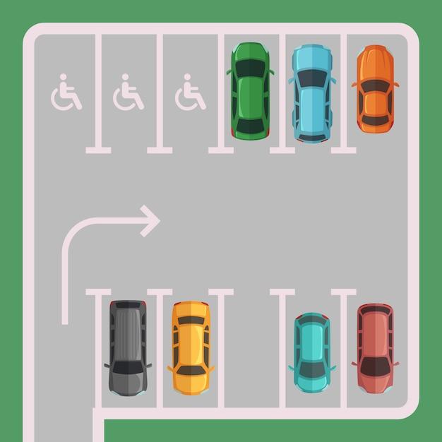 Parking Z Miejscami Dla Osób Niepełnosprawnych Premium Wektorów