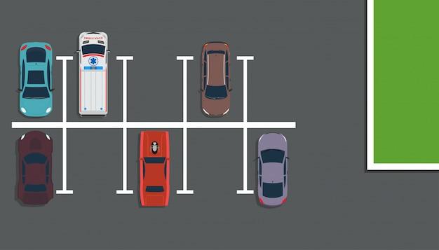 Parkowa Odgórnego Widoku Pojęcia Ilustracja. Mapa Ulicy Powyżej Samochodu Premium Wektorów