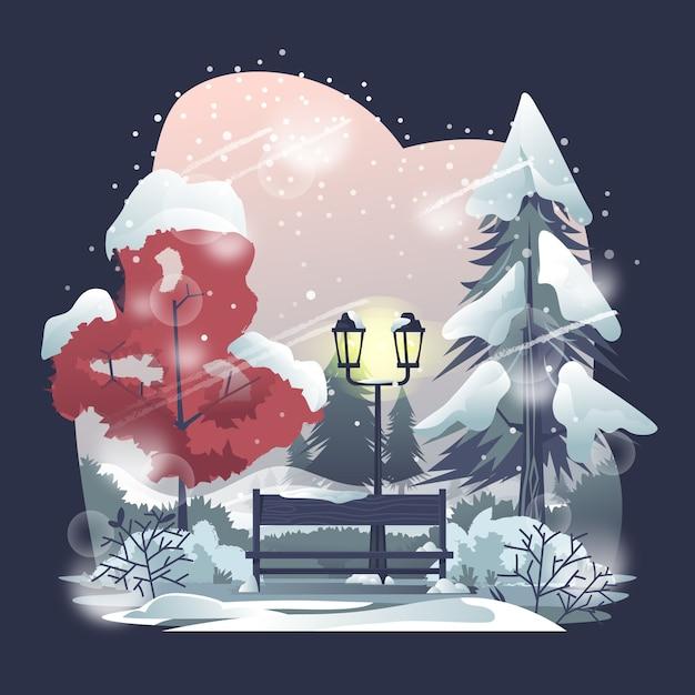 Parkowe ławki W Zimy Ilustraci Premium Wektorów