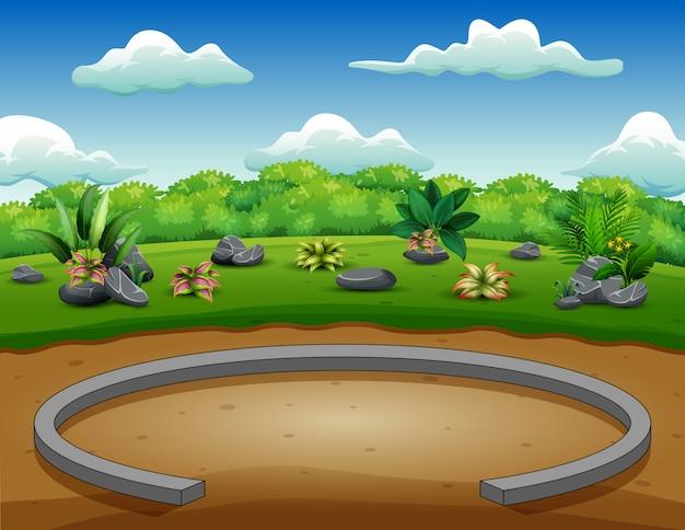 Parkowy tło z zieloną naturą Premium Wektorów