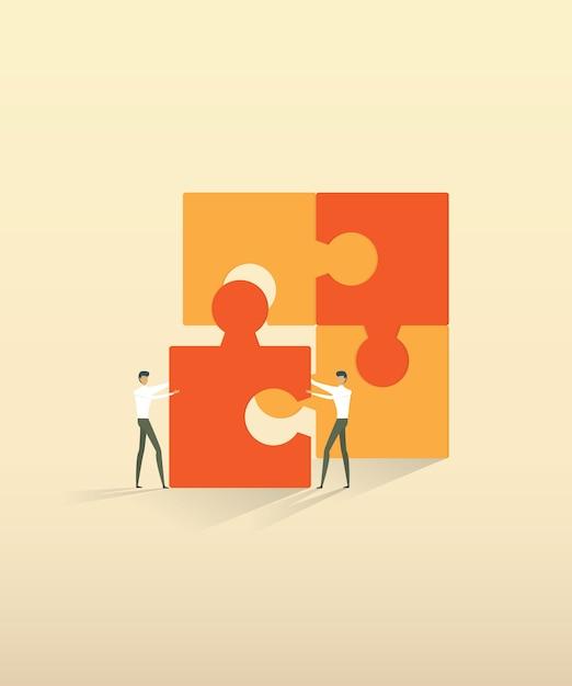 Partnerstwa biznesowego pracy zespołowej ludzi łączących elementy układanki. Premium Wektorów
