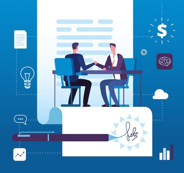 Partnerstwo Biznesowe. Uzgadnianie Inwestorów Przedsiębiorców Za Zgodą. Premium Wektorów
