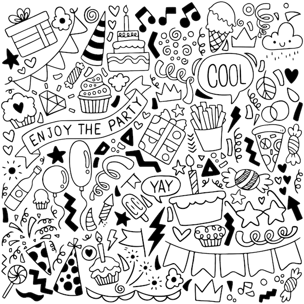 Party doodle kartkę z życzeniami wszystkiego najlepszego z elementami do rysowania Premium Wektorów